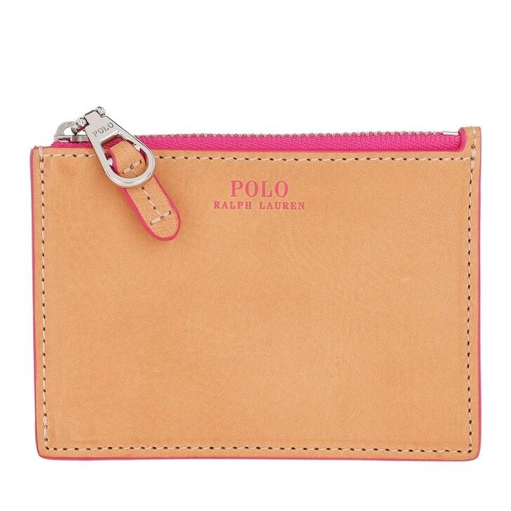 Geldbörse, Polo Ralph Lauren, Small Zip Credit Card Case Natural/Neon Pink