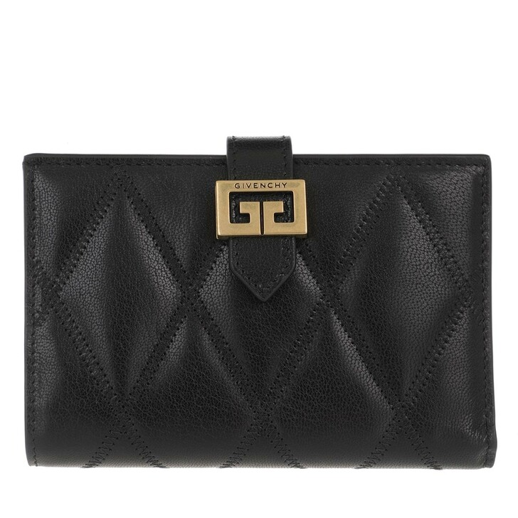 Geldbörse, Givenchy, Diamond Quilted Wallet Leather Black