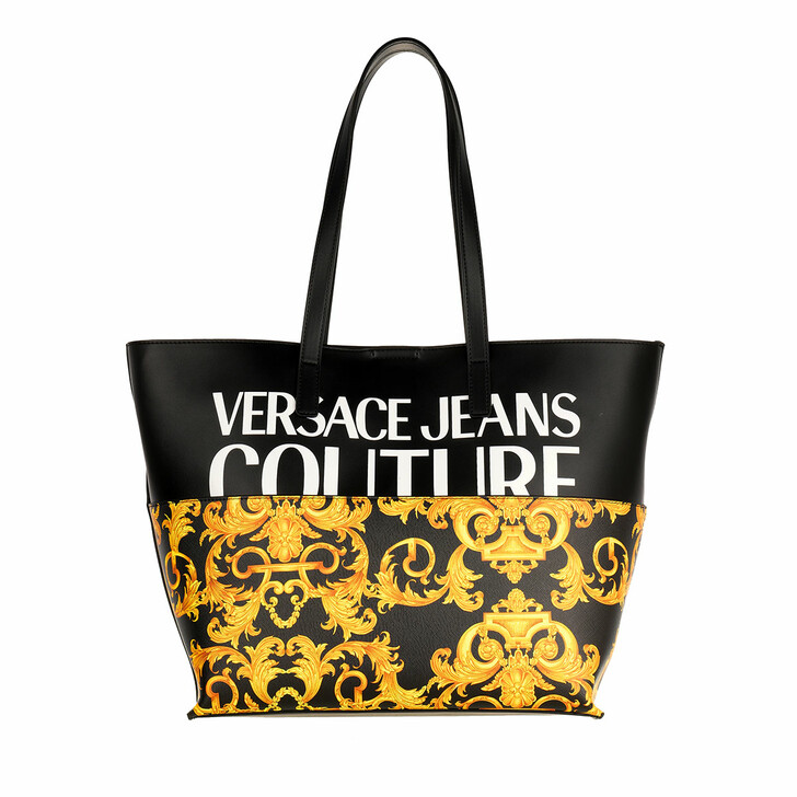 Handtasche, Versace Jeans Couture, Logo Shopper Leather Black Gold