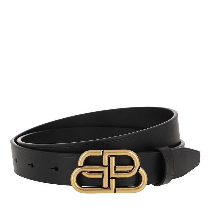 belts, Balenciaga, BB Thin Gold Buckle Belt Black