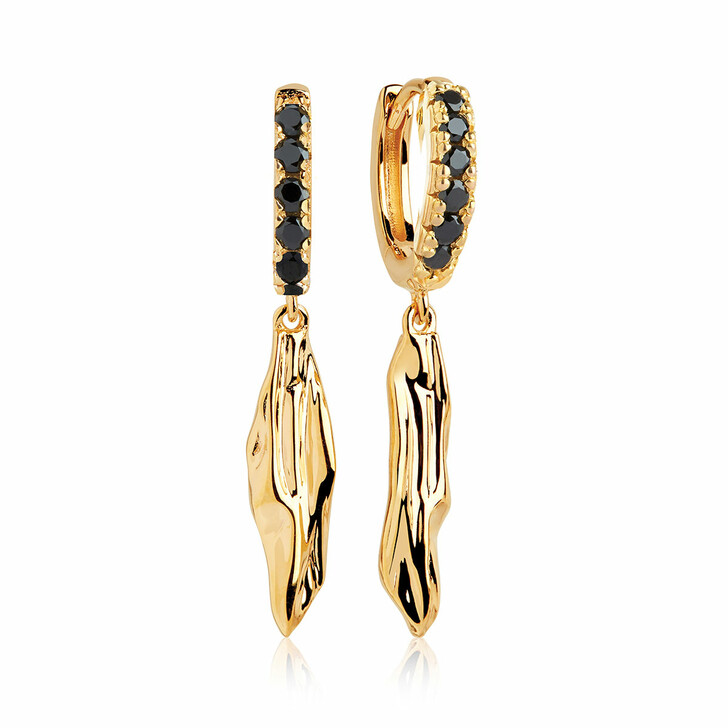 Ohrring, Sif Jakobs Jewellery, Vulcanello Lungo Earrings Black Yellow Gold