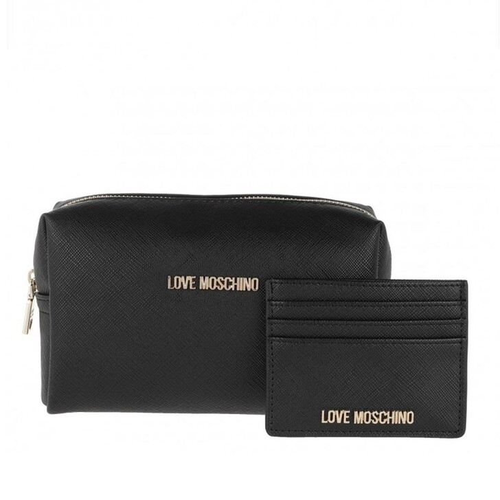 Necessaire, Love Moschino, Wallet And Cosmetic Bag Set Black
