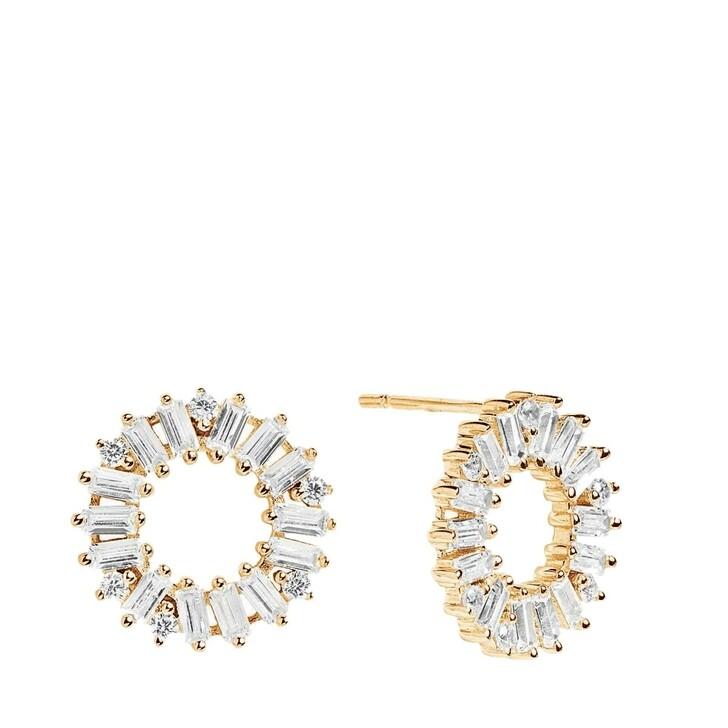 earrings, Sif Jakobs Jewellery, Antella Circolo Earrings White Zirconia 18K Gold Plated