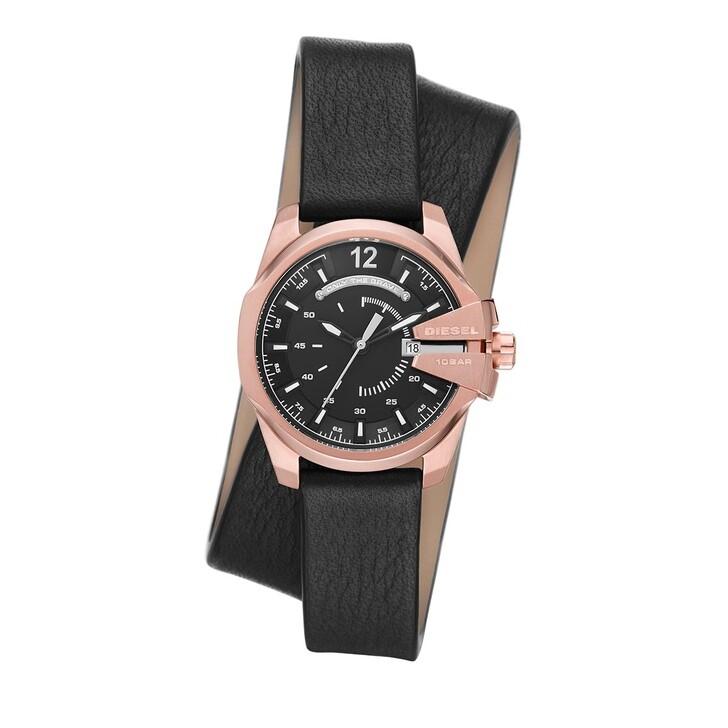 watches, Diesel, Baby Chief Three-Hand Date Leather Watch Black