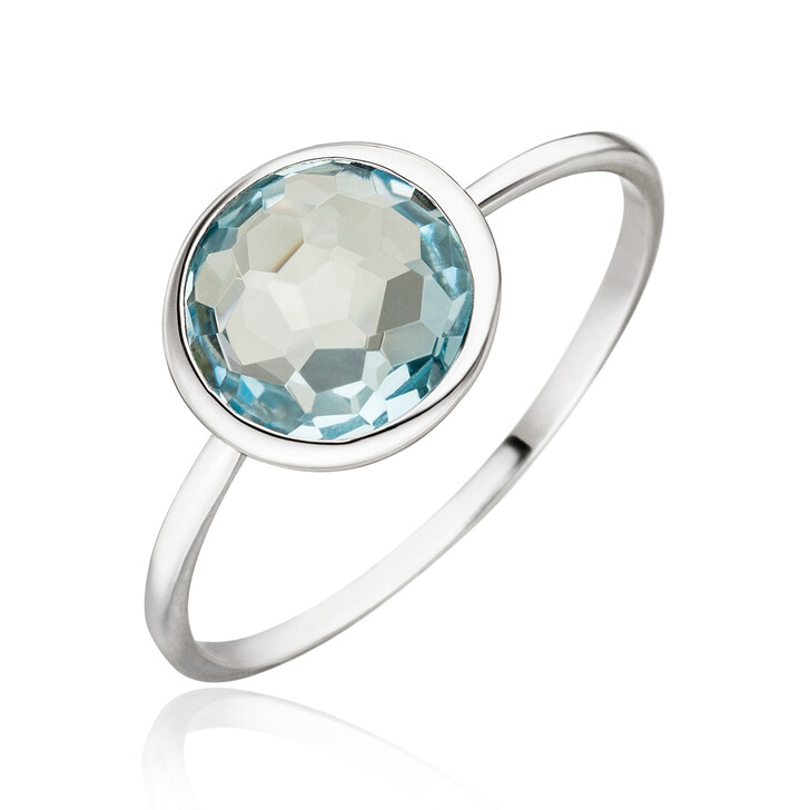 Ring, Leaf, Ring 14K Blue Topaz White Gold