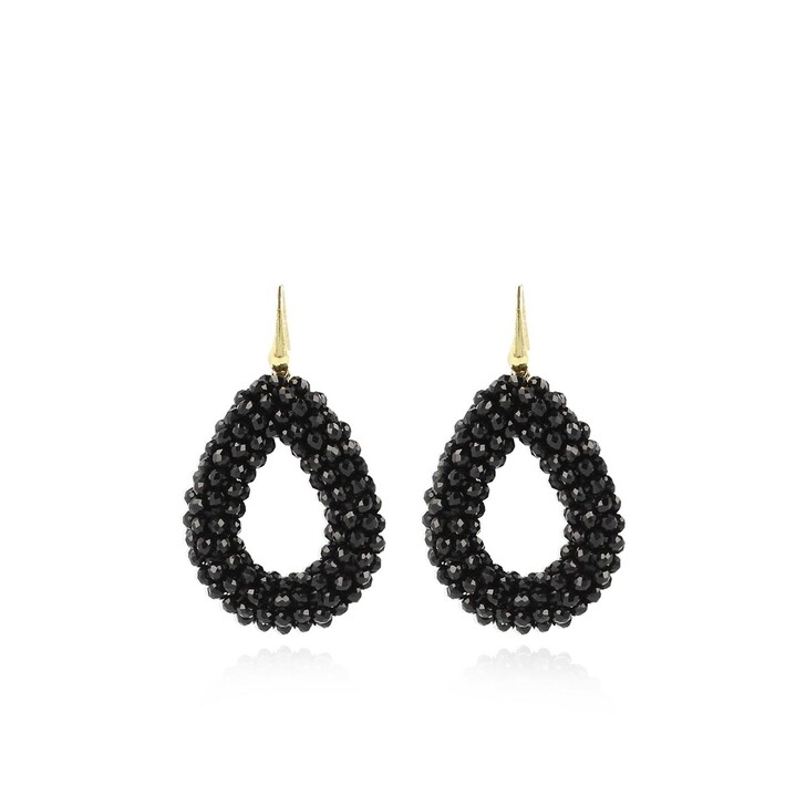 Ohrring, LOTT.gioielli, Earring Glassberry Drop L Black