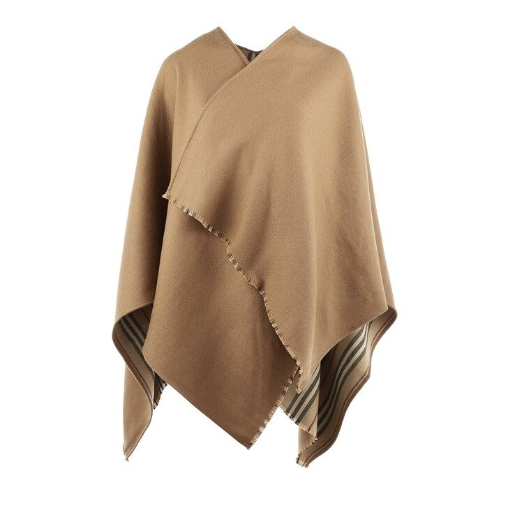 scarves, Burberry, Heritage Stripe Poncho Flaxseed