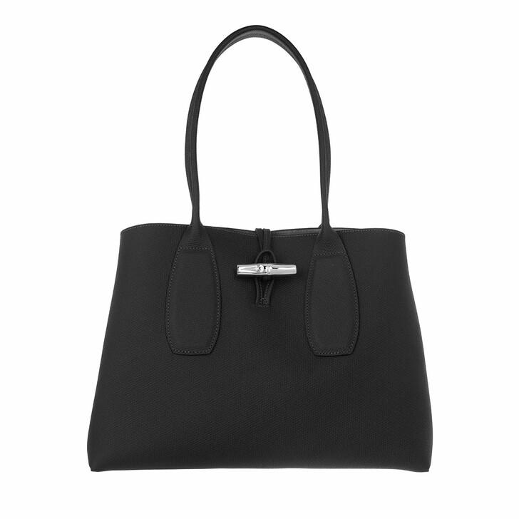 bags, Longchamp, Roseau Shoulder Bag  Black