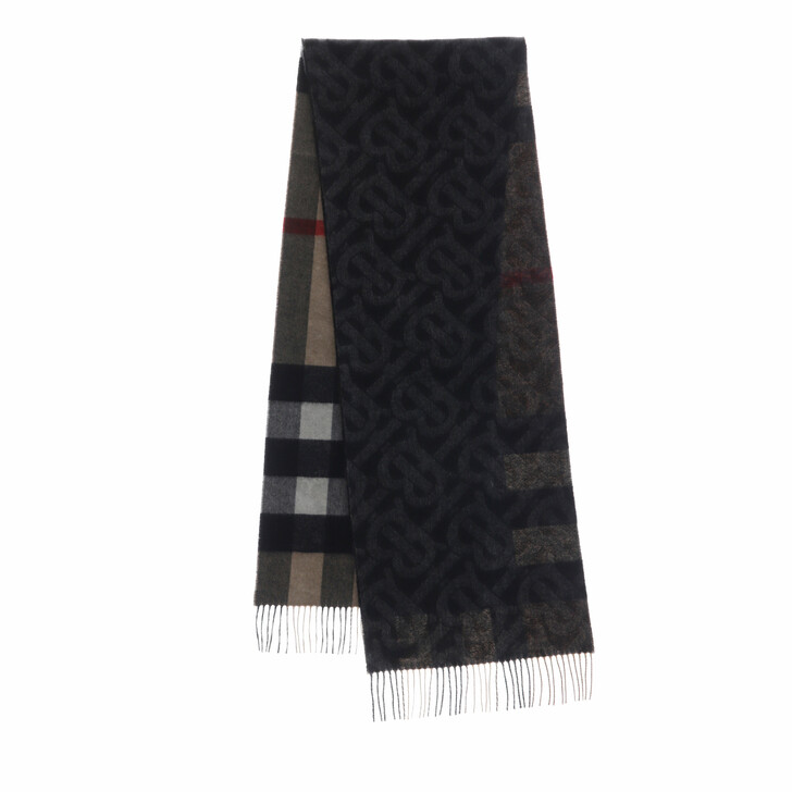 scarves, Burberry, Reversible Check And Monogram Scarf Cashmere Black/Beige