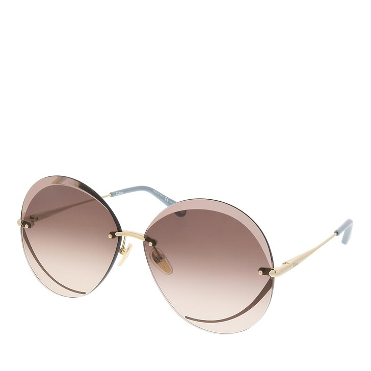sunglasses, Chloé, CH0063S-002 64 Sunglass Woman Metal Gold-Gold-Brown