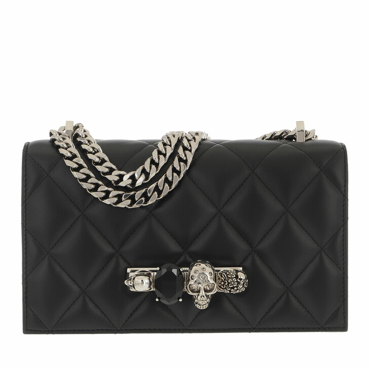 bags, Alexander McQueen, Quilted Crossbody Bag Leather Black