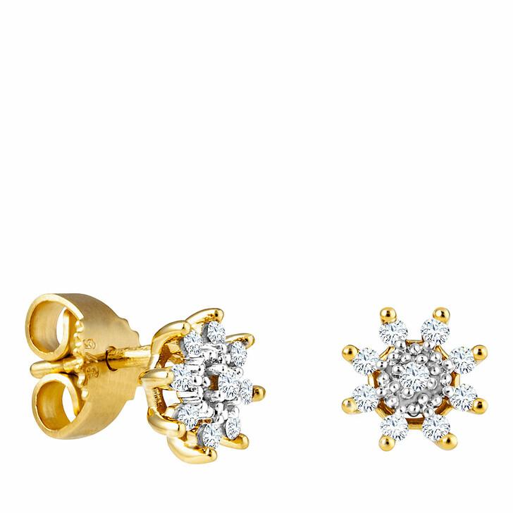 earrings, diamondline, Stud Earrings 375 18 Diamonds total approx. 0,14 c Yellow Gold