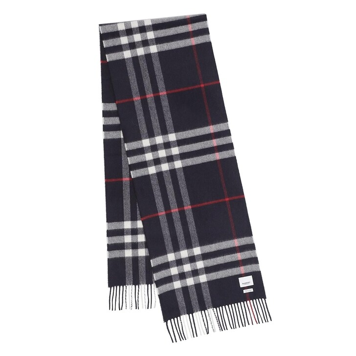 scarves, Burberry, Giant Check Cashmere Scarf Navy