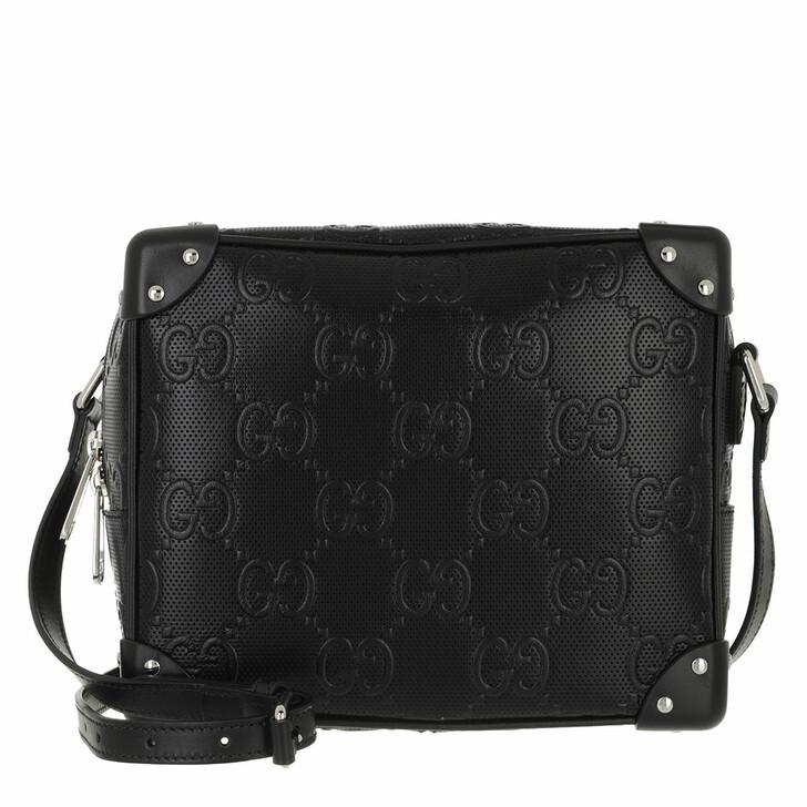 bags, Gucci, GG Shoulder Bag Embossed Leather Black