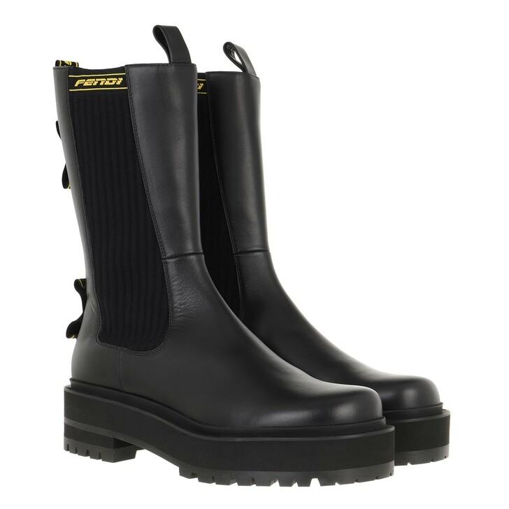 shoes, Fendi, Biker Ankle Boots Leather Black