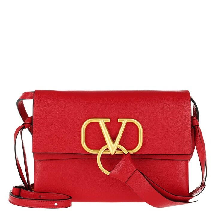 Handtasche, Valentino Garavani, Vring Crossbody Bag Leather Red