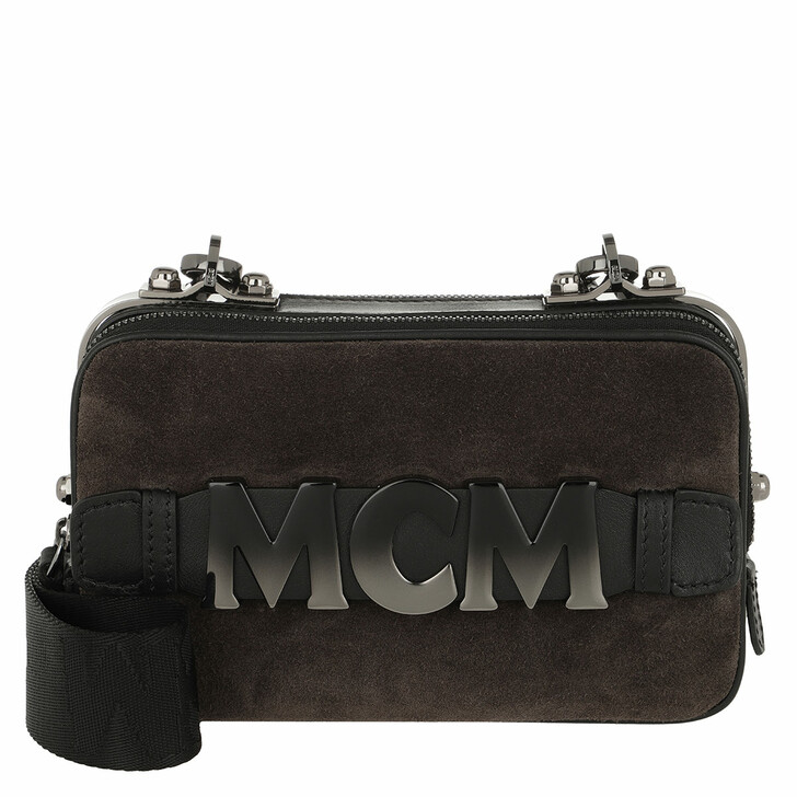 Handtasche, MCM, Cubism Suede Crossbody Bag Mini Phantom Grey