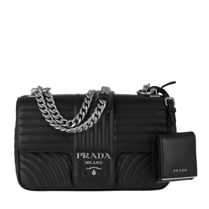 Handtasche, Prada, Diagramme Shoulder Bag Medium Leather Black