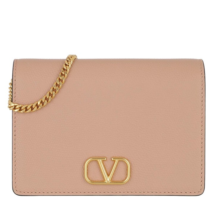 Handtasche, Valentino Garavani, V-Logo Signature Crossbody Bag Leather Rose Cannelle