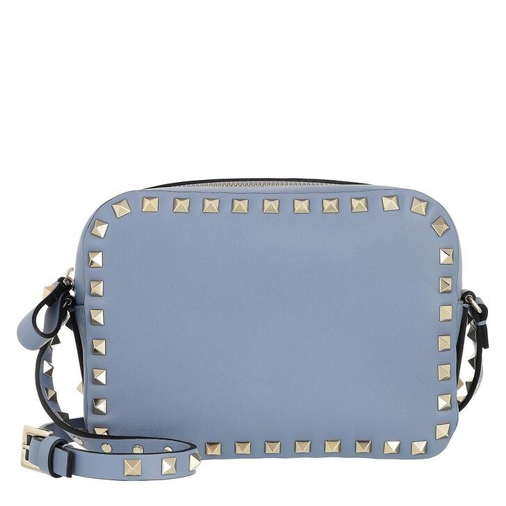 bags, Valentino Garavani, Small Rockstud Camera Bag Leather Azure