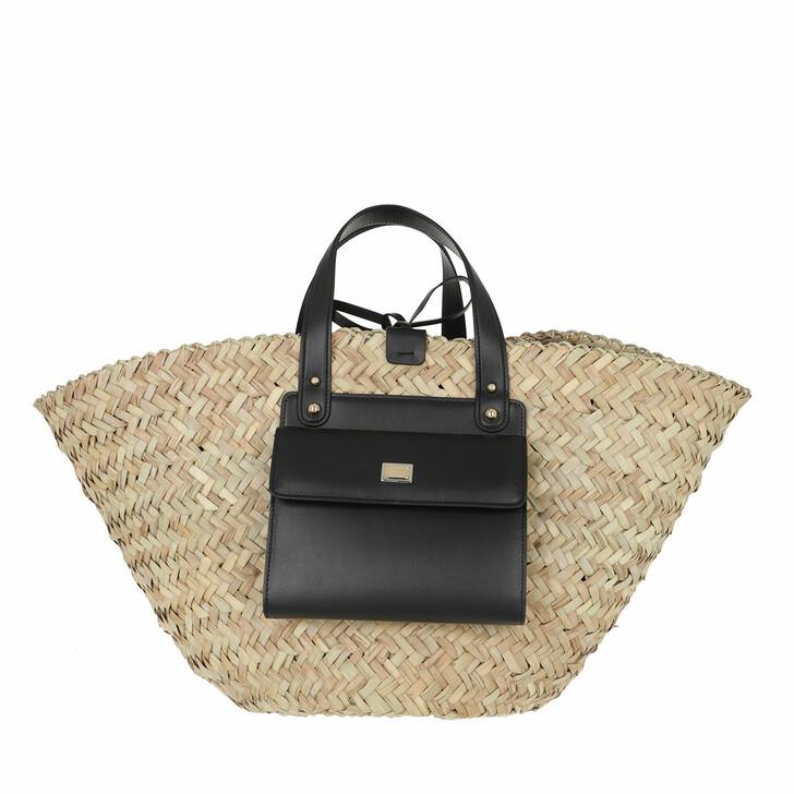 bags, Dolce&Gabbana, Raffia Kendra Bucket Bag Black