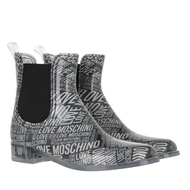 shoes, Love Moschino, Sca Nod Rainboot30 Pvcst Logo  Nero Bianco