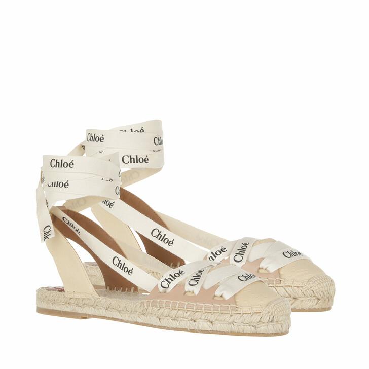shoes, Chloé, Flat Ingrid Lace Up Espadrilles Canvas Leather Soft Tan