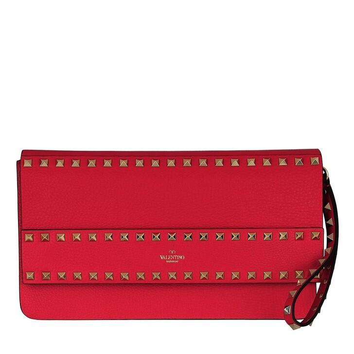 Handtasche, Valentino, Rockstud Clutch Leather Rouge Pur