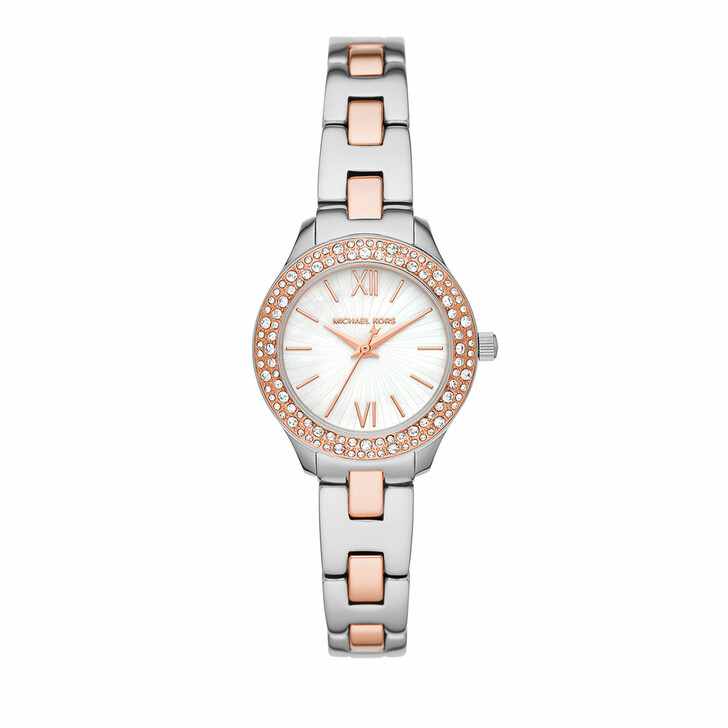 watches, Michael Kors, Liliane Three-Hand Stainless Steel Watch Bicolored/Rosegold