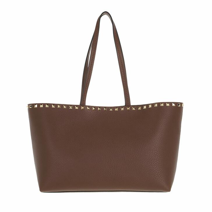 bags, Valentino Garavani, Rockstud Shopping Bag Calfskin Deep Taupe