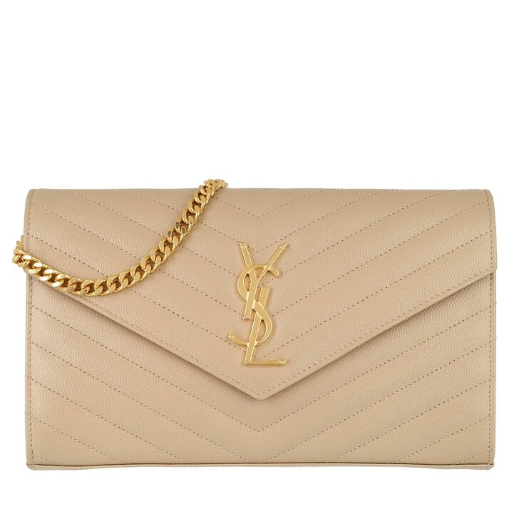 Handtasche, Saint Laurent, Monogramme Chain Wallet Dark Beige
