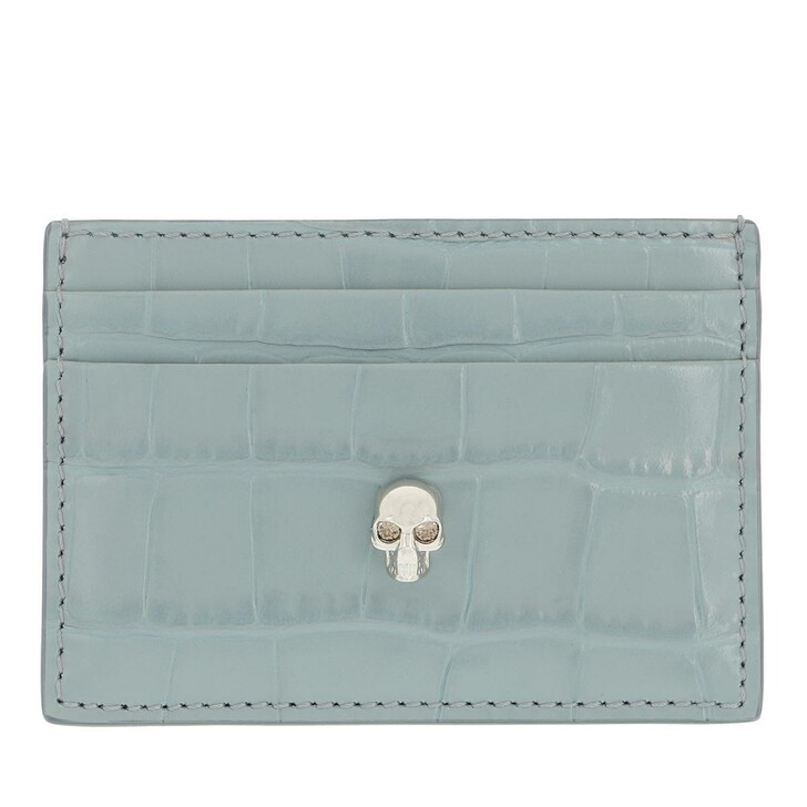 wallets, Alexander McQueen, Skull Stud Card Holder Blue