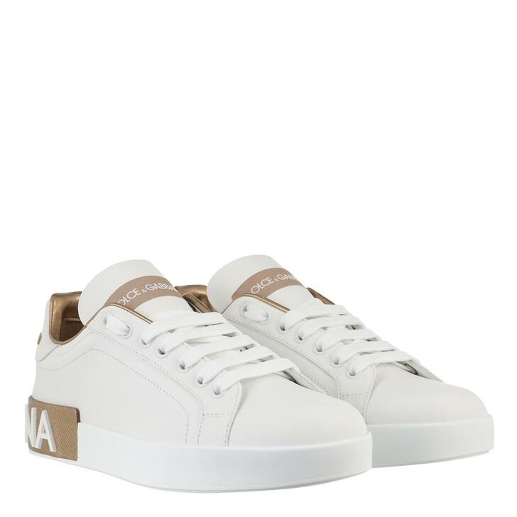 Schuh, Dolce&Gabbana, Portofino Sneakers Nappa White Oro