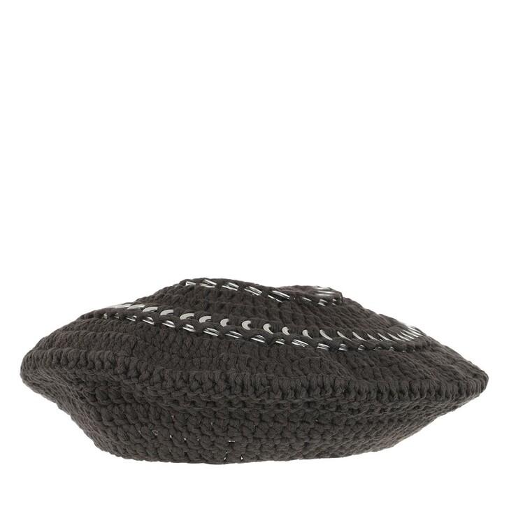 Mütze, GANNI, Cotton Knit Beret Phantom