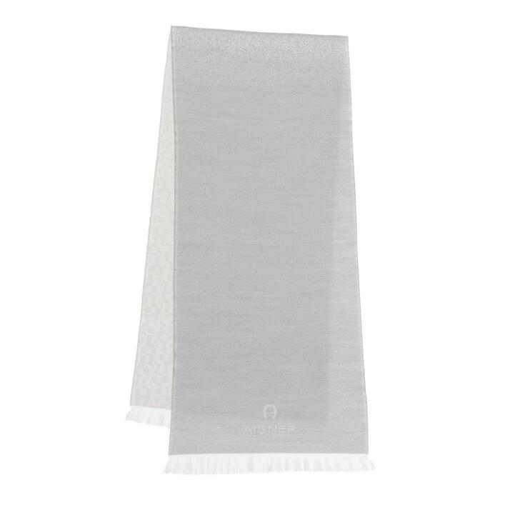 scarves, AIGNER, Logo Unisex Scarf 36 x 180 cm Slate Grey