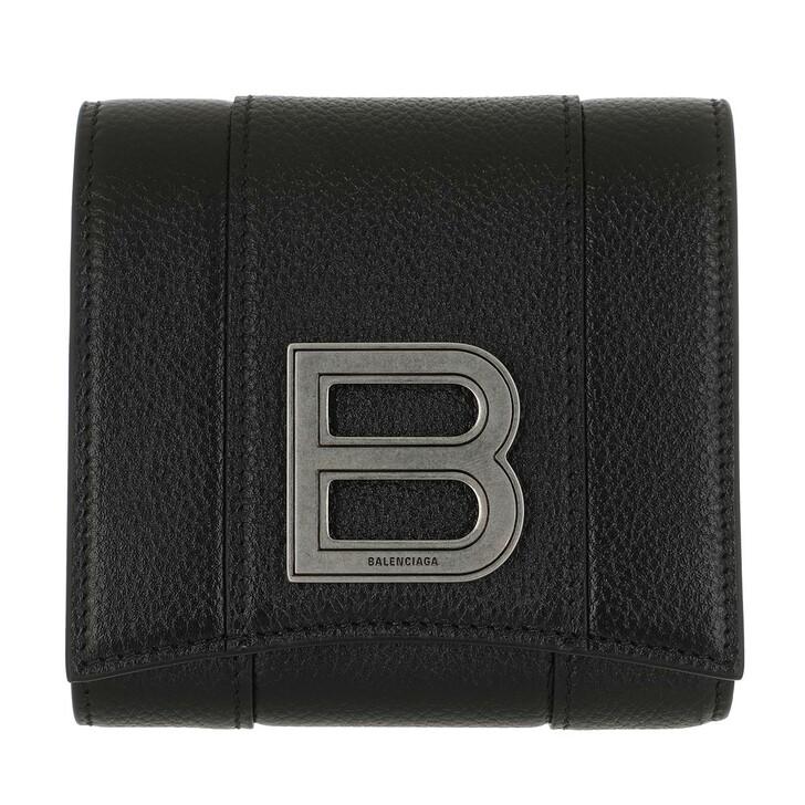 Geldbörse, Balenciaga, Hourglass Coin And Card Holder Leather Black