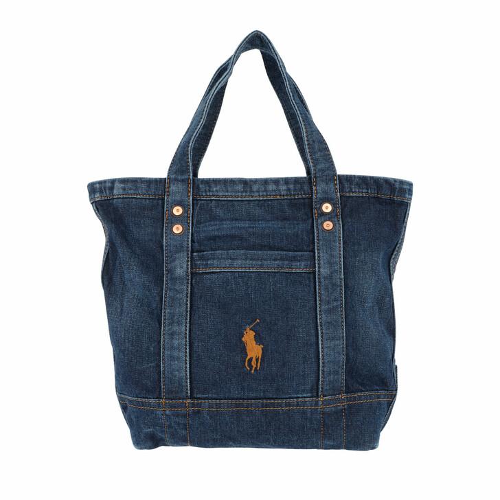 Handtasche, Polo Ralph Lauren, Denim Tote Small Dark Denim