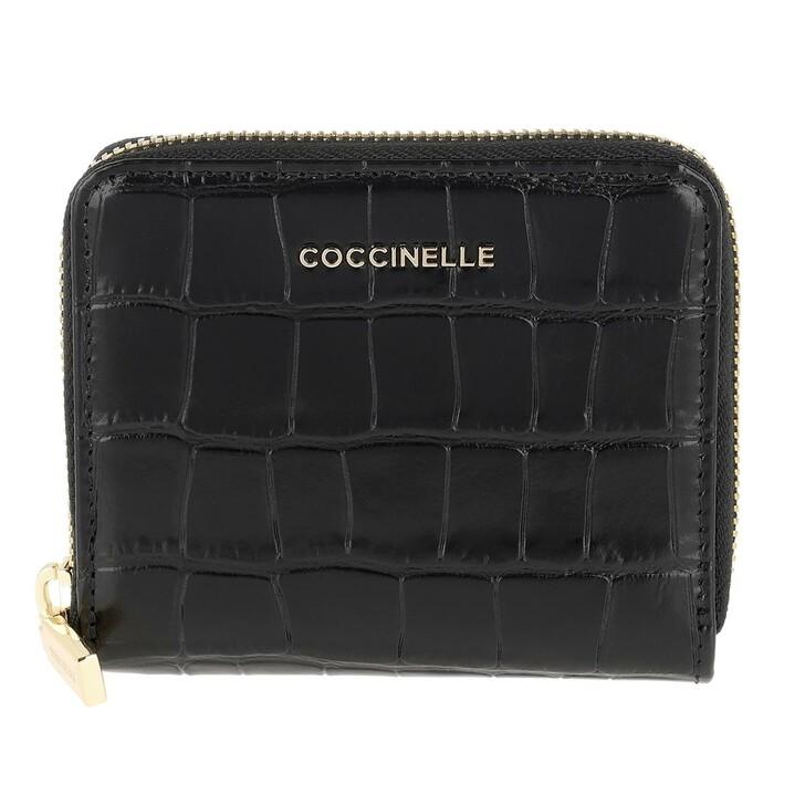 wallets, Coccinelle, Metallic Croco Shiny Soft Noir