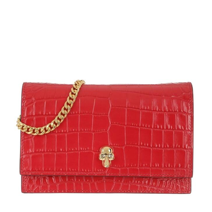 Handtasche, Alexander McQueen, Skull Mini Crossbody Bag Leather Deep Red