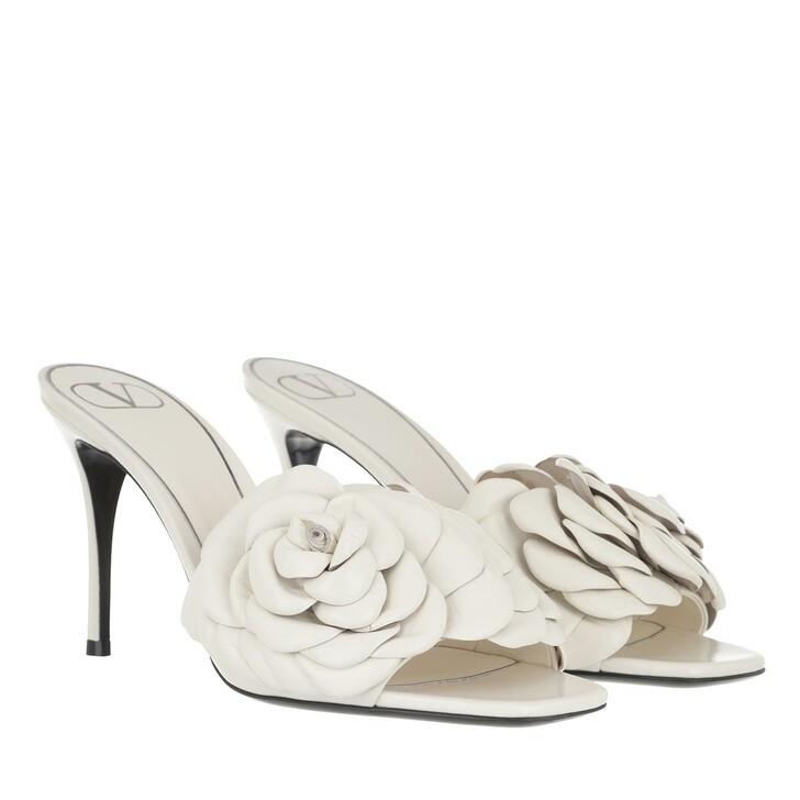 shoes, Valentino Garavani, Rose High Heel Slipper Leather Ivory