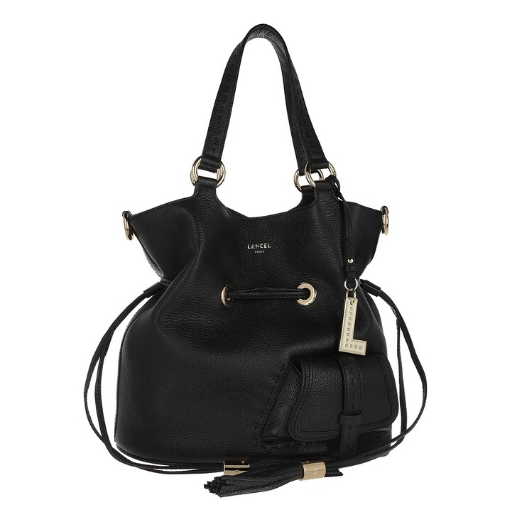Handtasche, Lancel, Flirt Grained Leather Bucket Bag Medium Black