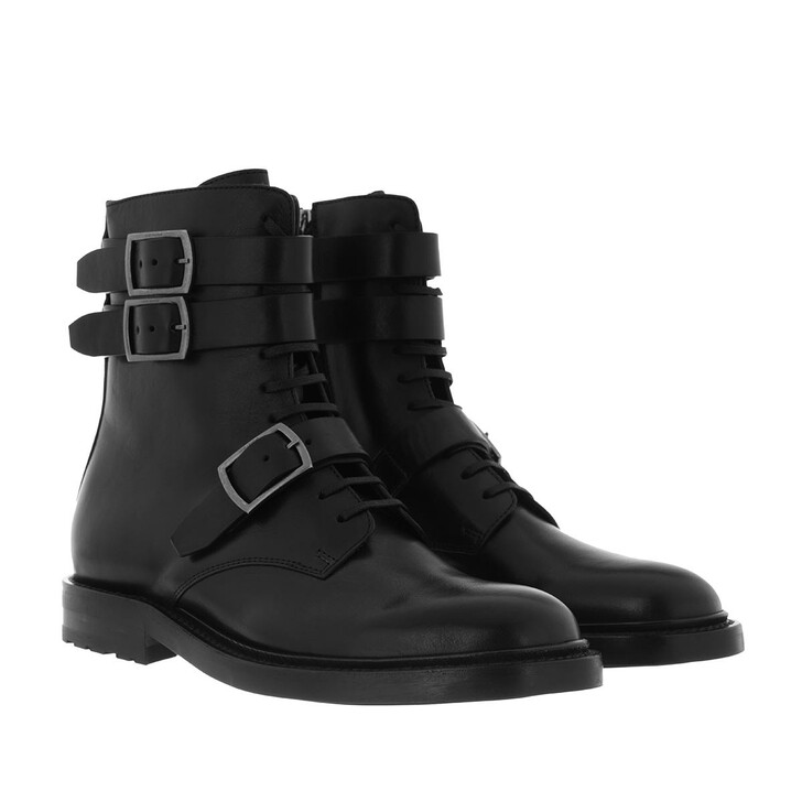 Schuh, Saint Laurent, Military High Top Boots Leather Black