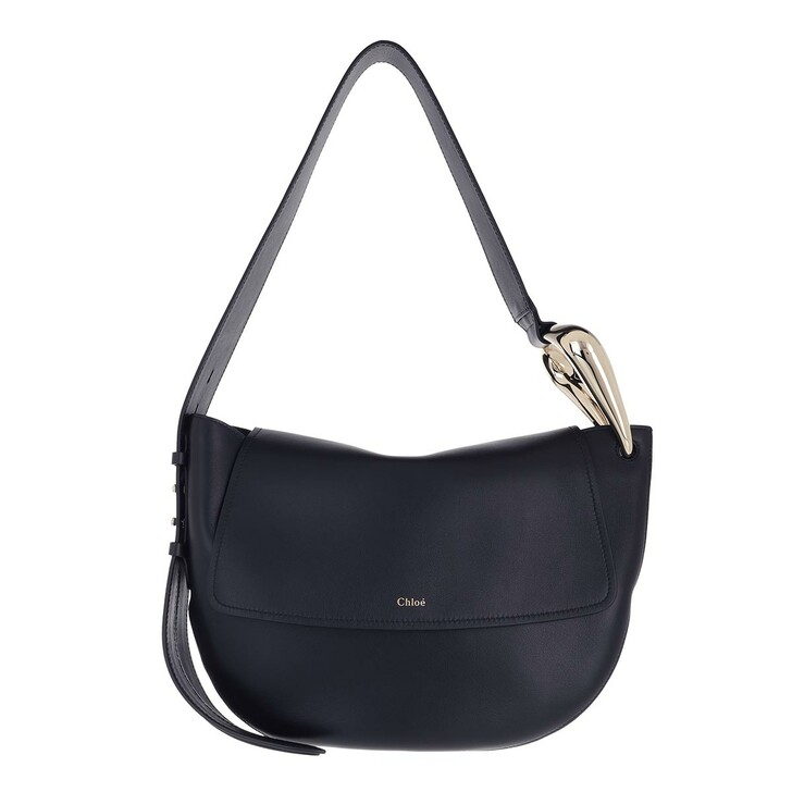 bags, Chloé, Small Kiss Hobo Handbag Grain Shiny Calfskin Blue