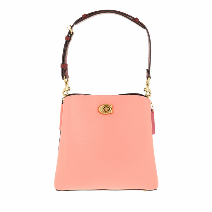 bags, Coach, Colorblock Leather Willow Bucket Candy Pink