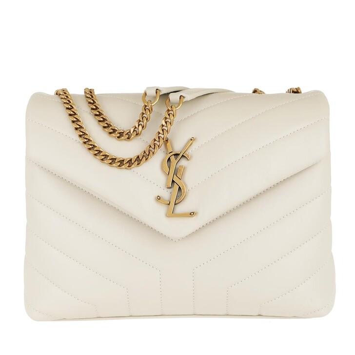 Handtasche, Saint Laurent, LouLou Shoulder Bag S Leather Crema Soft