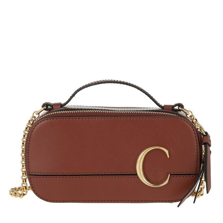 bags, Chloé, C Vanity Mini Crossbody Bag Smooth Leather Sepia Brown