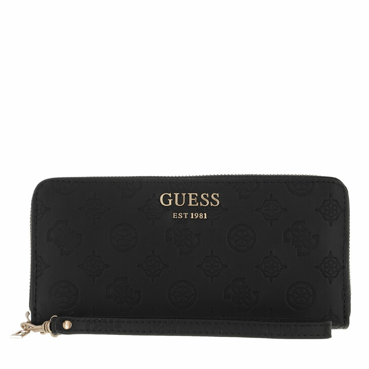 wallets, Guess, Vikky Slg Large Zip Around Black