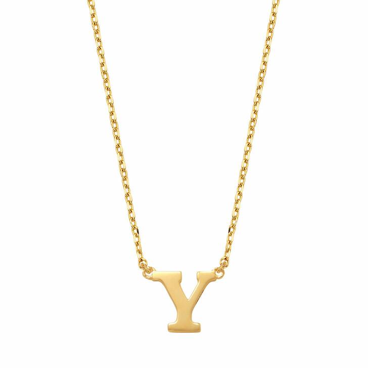 necklaces, Isabel Bernard, Le Marais Chloé 14 Karat Initial Necklace Letter Y Gold