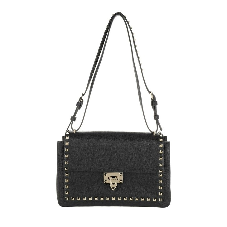 Handtasche, Valentino, Rockstud Shoulder Bag Leather Nero