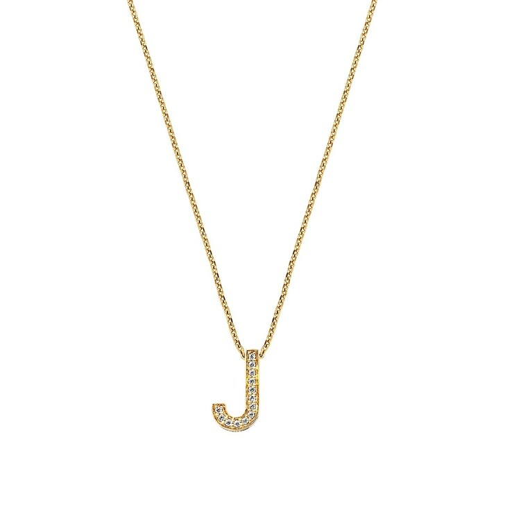 Kette, BELORO, Necklace Letter J Zirconia Gold-Plated